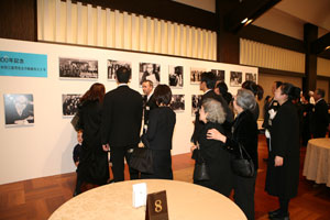 Visitors enjoying photo exhibit