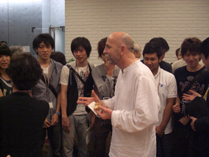 Mr. Vishuki chatting with Students