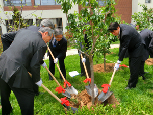 The delegation helps plant the trees