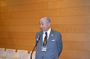Former Chancellor of Tokyo Metropolitan University, Hiroshi Takahashi speaks at the reception
