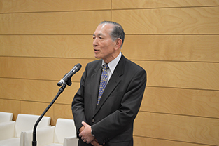 JETRO Advisor, Yasuo Hayashi speaks at the reception