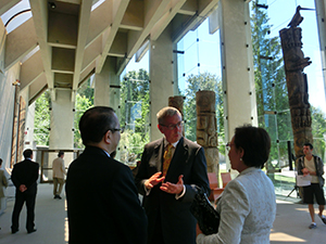 With President Toope (center) at UBC's Museum of Anthropology
