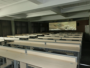 One of the AV classrooms equipped with ultra-widescreen
