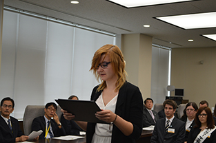 Polish student spokesperson, Czubek Jowita Agnieszka, delivers pledge