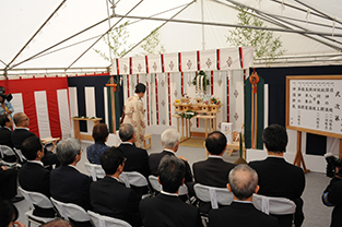 The Shinto ritual at the groundbreaking ceremony