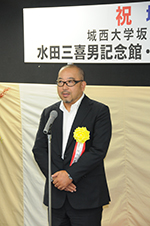 Hitoshi Abe speaks at the traditional Shinto banquet