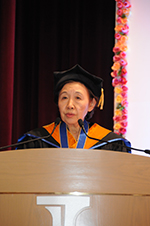 Chancellor Mizuta speaks at the honorary doctorate award ceremony