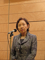Chancellor Mizuta addresses the participants