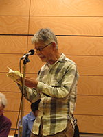Mr. Takahashi reads at the event