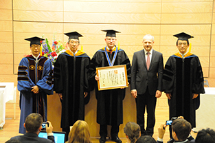 Prime Minister Sobotka (center) receiving honorary doctorate, Czech Ambassador Mr. Tomas Dub is second from right